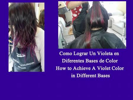 Lograr un color fantasía violeta en dos casos de cabellos teñidos