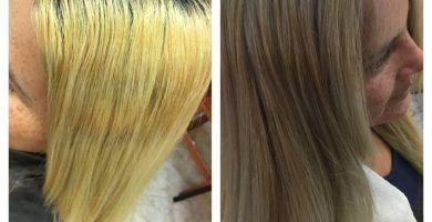 Pasar de un color de cabello amarillo a platinado